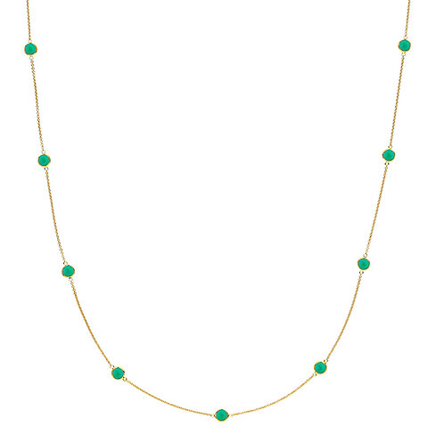 PRIMA DONNA HALSKETTE Silber vergoldet - Grüner Onyx