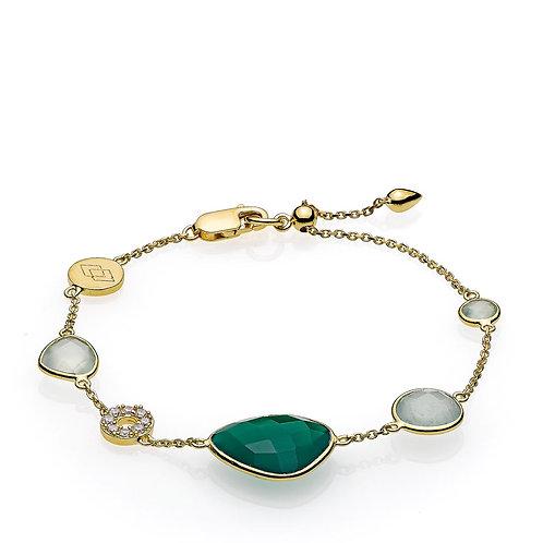 ORIENT ARMBAND Silber vergoldet - Grüner Onyx