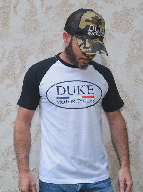 t-shirt duke motorcycles raglan noir blanc
