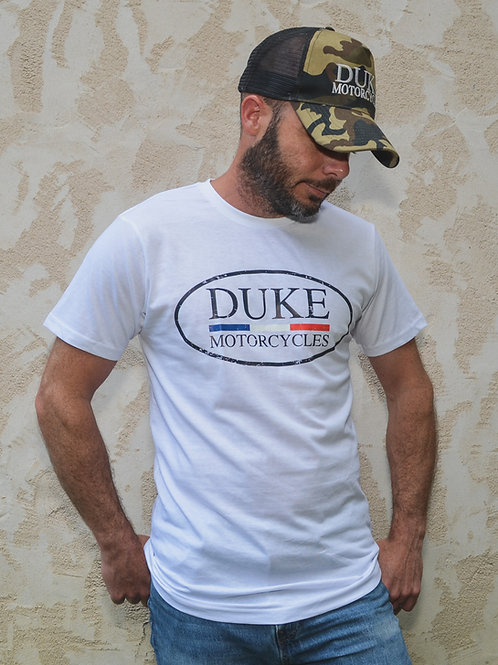 t-shirt duke motorcycles blanc