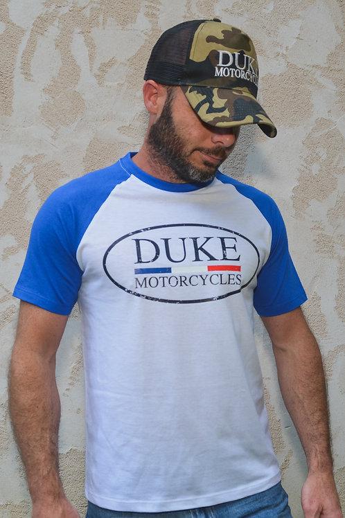 t-shirt duke motorcycles raglan bleu blanc