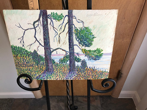 Anton Pearson Trees and Water Painting