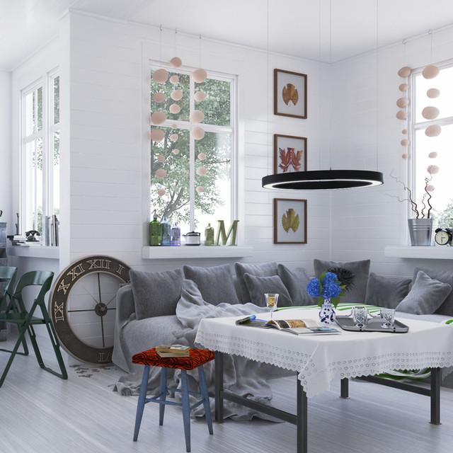 Pendelleuche mit schwarzer Lackierung im privaten Wohnzimmer. Dimmung mit Casambi aus Finnland