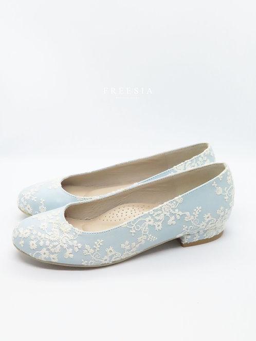 小玫瑰白蕾絲&水藍皮