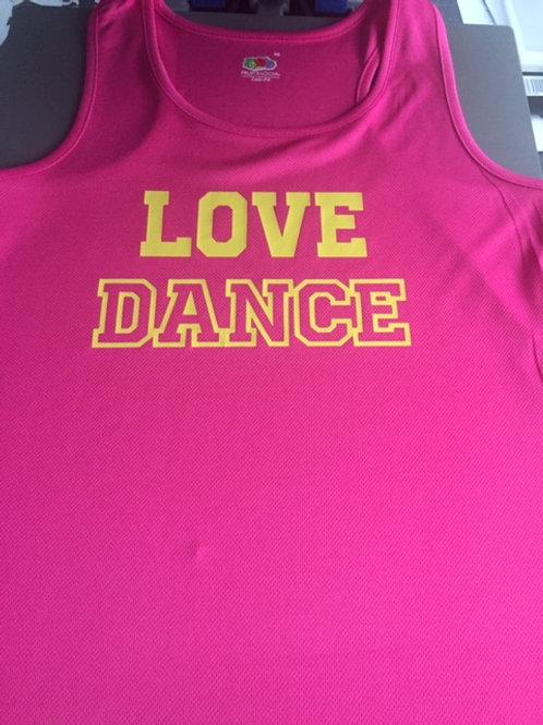 MEDIUM Pink Love Dance VEST - Yellow
