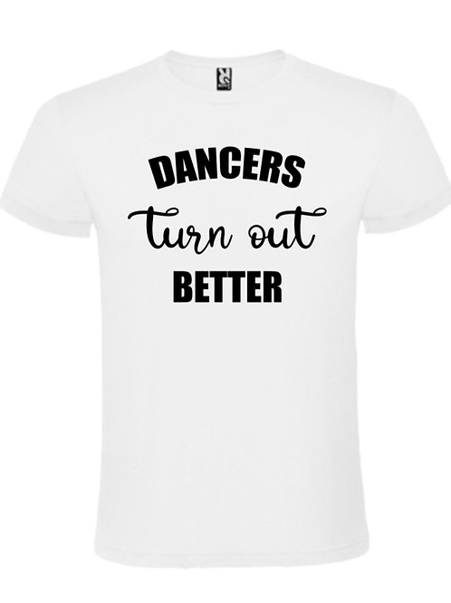 Dancers turn out better tee white with black