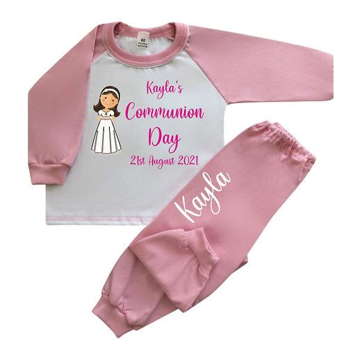Communion Girl  personalised pyjamas Long sleeve Pink