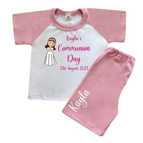 Communion Girl personalised pyjamas T-Shirt & short set pink