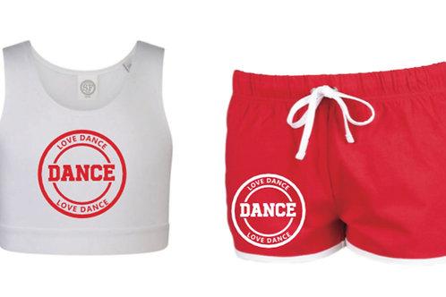 Crop top & Shorts set -LOVE DANCE