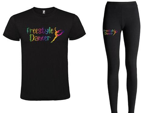Freestyle Dancer rainbow tee & leggings lounge set