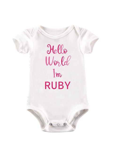 Hello World personalised baby vest