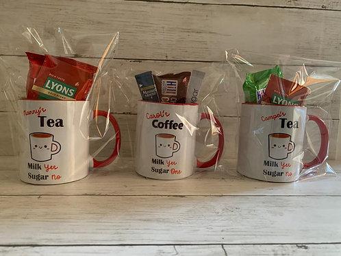 Personalised tea or coffee filled mug