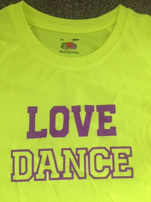 7-8 neon yellow Love Dance Tee