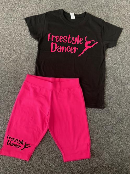 Freestyle Dancer Tee & Bicycle short set Hot Pink & Black