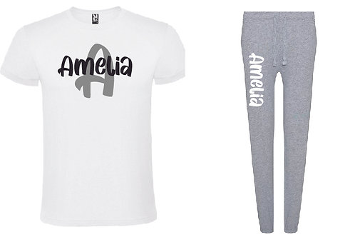 Personalised Grey Pyjama Set