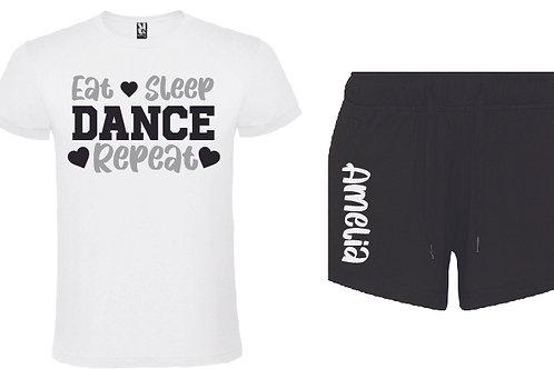 Dance Personalised Black Pajama Short Set
