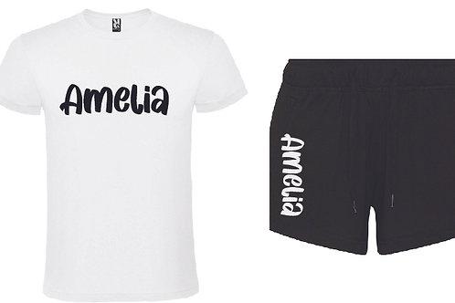 Personalised Black Pyjama Short Set