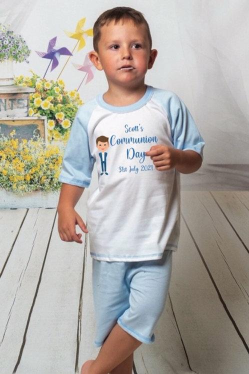 Communion Boy  personalised pyjamas T-Shirt & short set blue