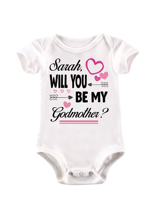 Will you be my godmother personalised baby vest