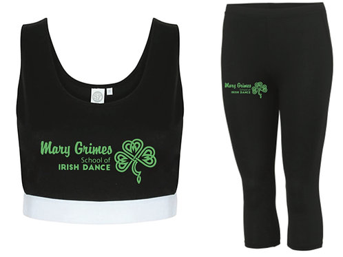 Crop top & leggings set- Mary Grimes school of irish dance