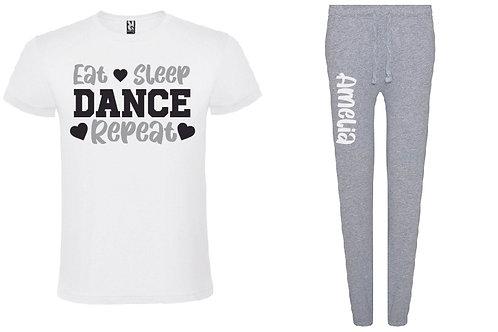 Dance Personalised Grey Pyjama Set