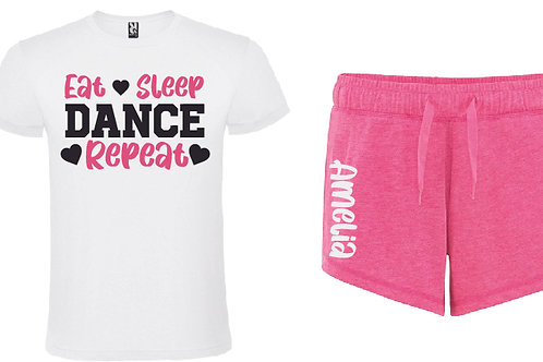 Dance Personalised Pink Pajama Short Set