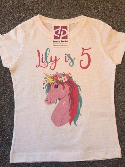 Birthday T-shirt any image - White