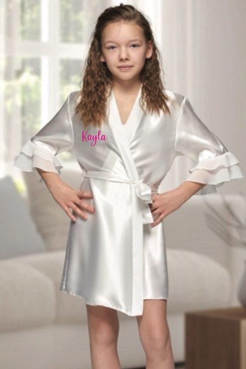 Communion/Confirmation Girl  personalised Satin flared sleeve robe White