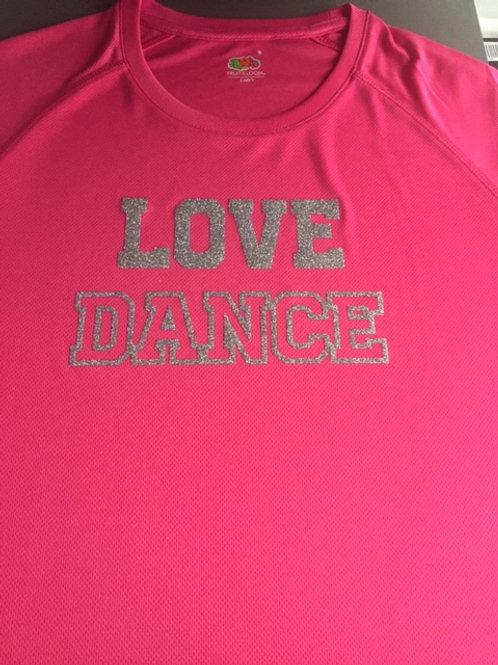 MEDIUM Pink Love Dance tee - Glitter