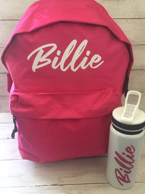 Personalised Backpack & Water Bottle set