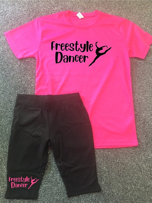 Freestyle Dancer Sports Tee & Bicycle short set - Colour choice