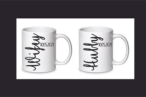 Set of 2 Personalised Mugs Hubby Wifey