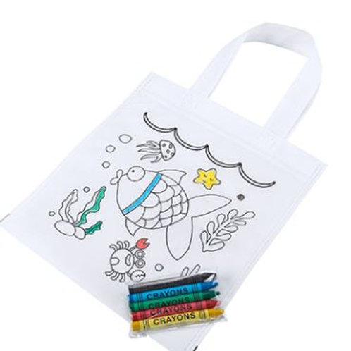 Kids colour your own tote bag with colours