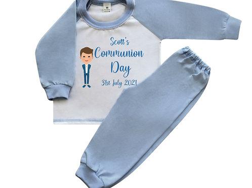 Communion Boy  personalised pyjamas Long sleeve Blue