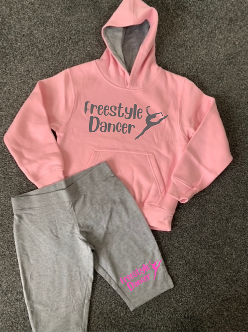 Freestyle Dancer Hoodie & Bicycle short set Baby Pink & Grey