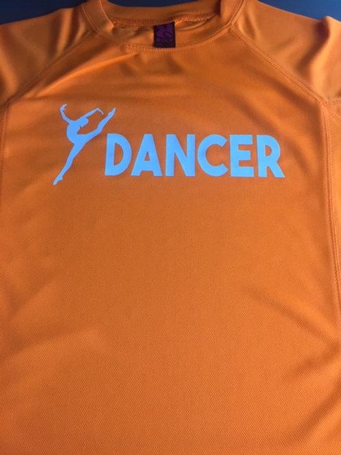 7-8 Orange & white dancer tee