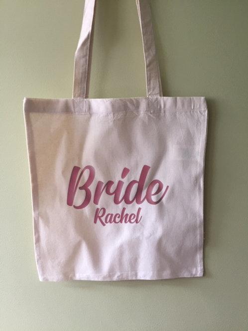 Personalised wedding tote bag