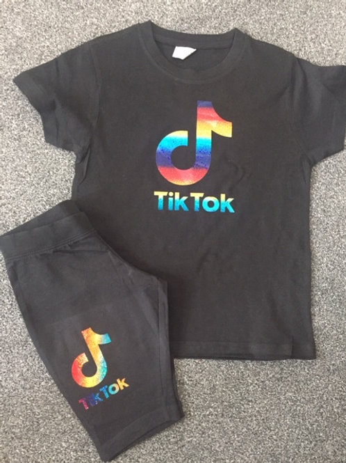 Rainbow Tiktok Tee & Bicycle short set