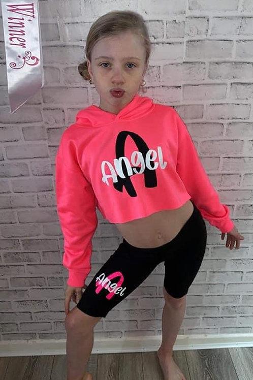 Personalised Cropped Hoodie & Bicycle Shorts Set