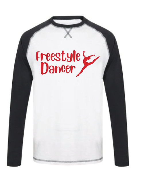 Freestyle Dancer - Baseball Long Sleeve tee Navy