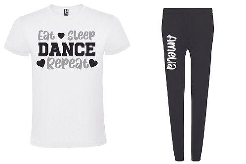 Dance Personalised Black Pyjama Set