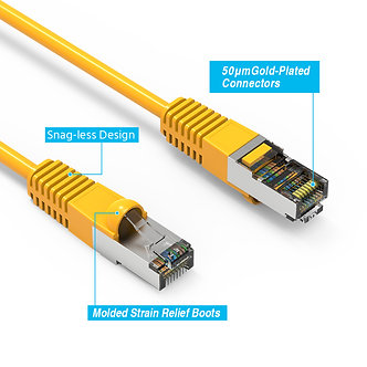 20 PACK 2Ft Cat5E Shielded (FTP) Booted Cable