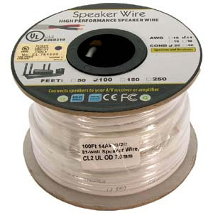100Ft 14AWG/2C In-wall Speaker Wire, OFC CL2 UL
