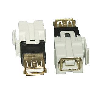 USB 2.0 B/F to A/F Keystone Insert Flush