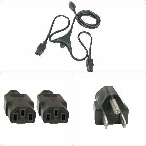 6Ft Y Power Cord 5-15P to C-13 Black