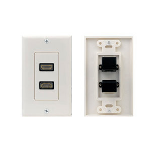 2 Port HDMI Wall Plate, 90 Degree