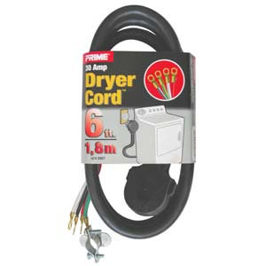 6Ft 10/4 30 Amp 4-Wire Dryer Power Cord