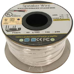 100Ft 16AWG/2C In-wall Speaker Wire, OFC CL2 UL
