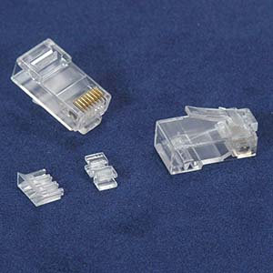 RJ45 Cat.6A Plug Solid 50 Micron 3pc type