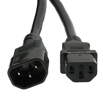 3Ft Power Extension Cord C13 to C14 Black /SJT 14/3